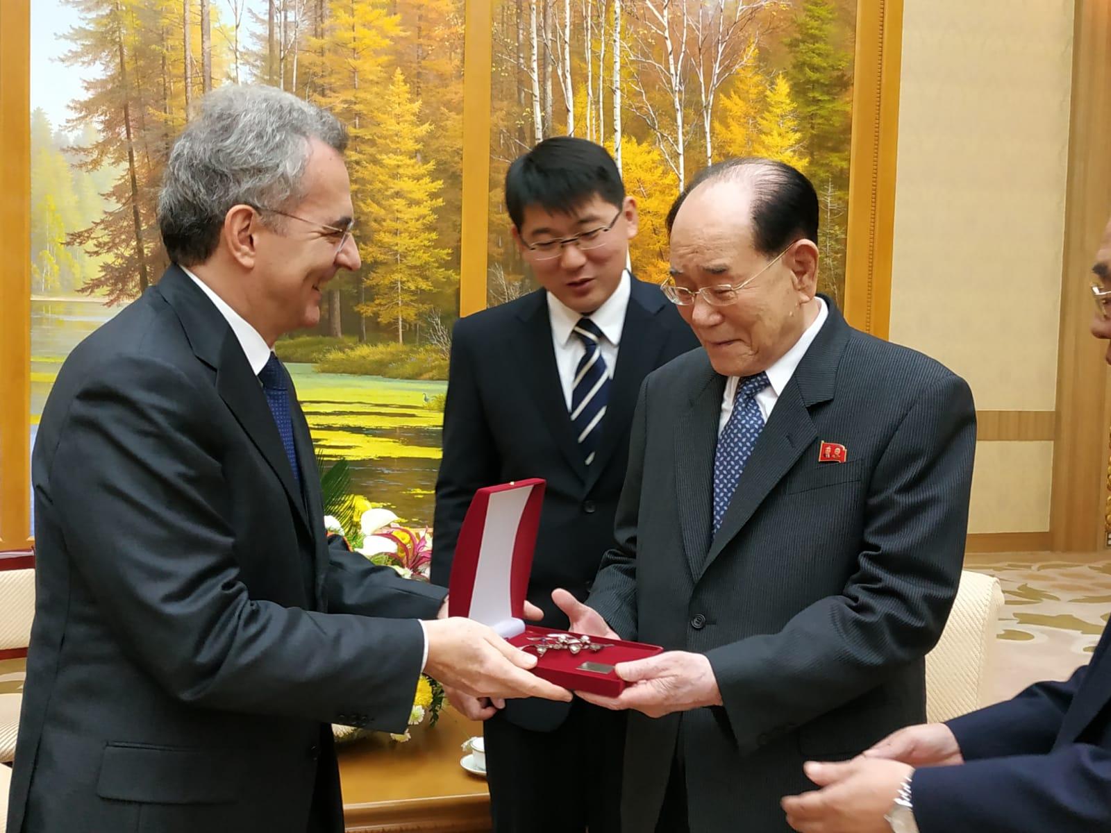 Incontro con Kim Yong Nam Presidente del Presidium dell'Assemblea del Popolo